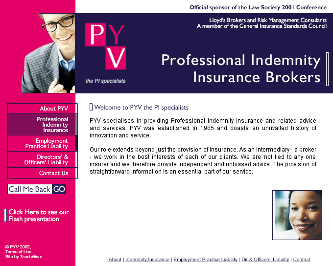 PYV Insurance Brokers website