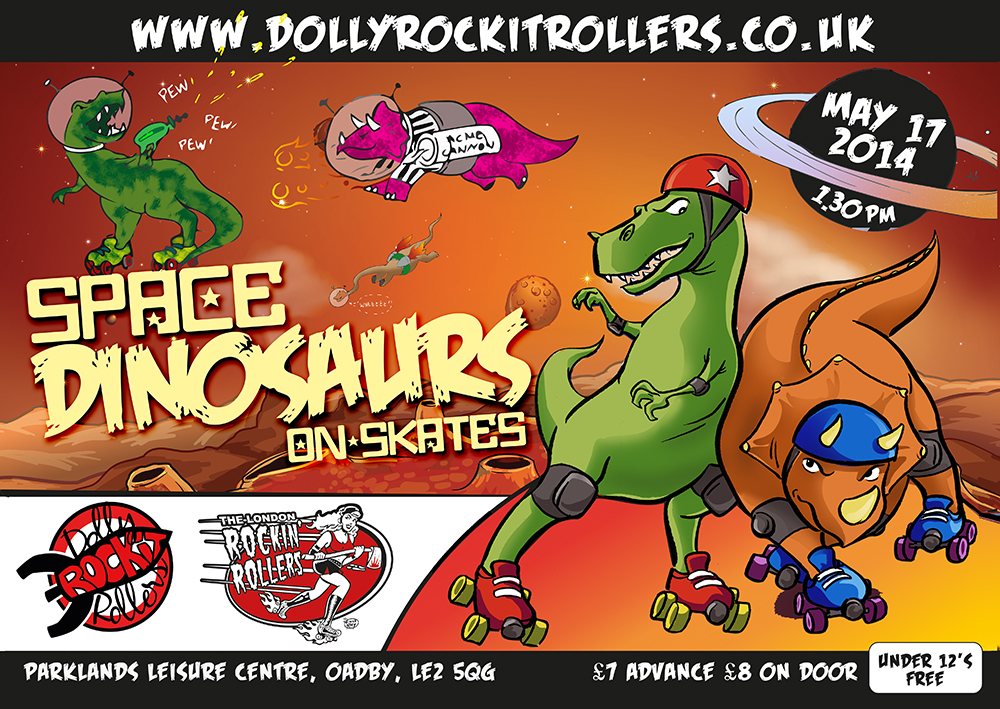 Space Dinosaurs on Skates Poster