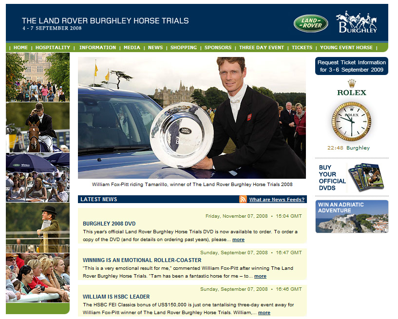 Burghley Horse Trials website
