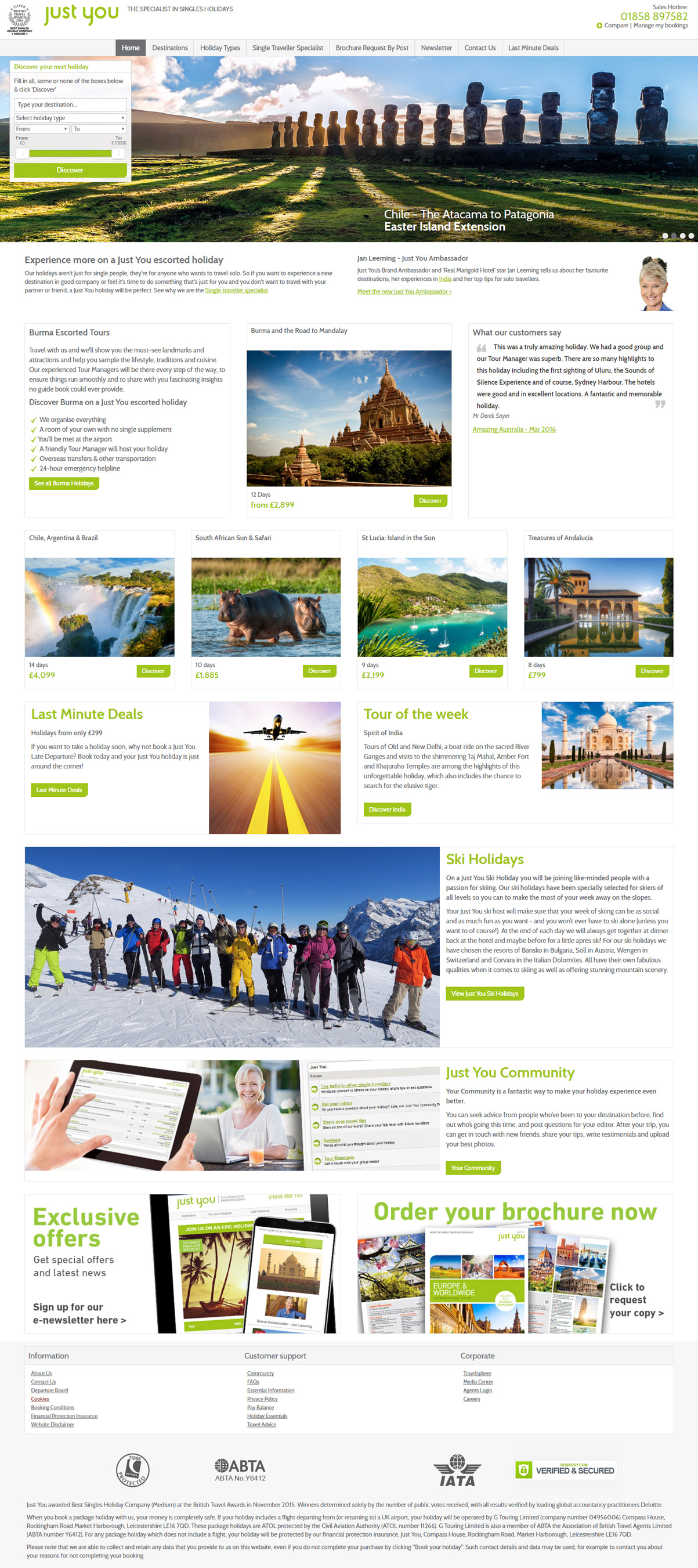 Just You homepage - Site widening