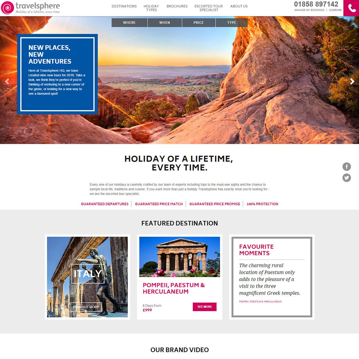 Travelsphere website re-brand