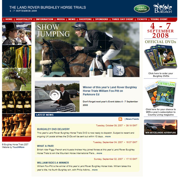 The Burghley Horse Trials website