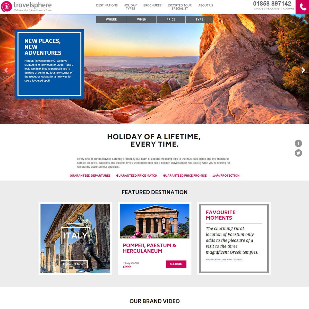 Travelsphere website re-brand